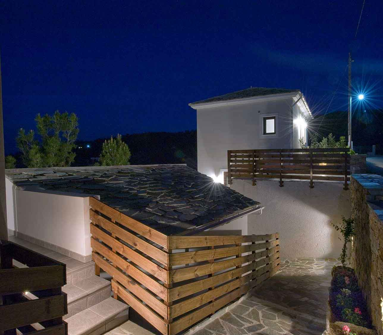 ikaria olivia villas night view