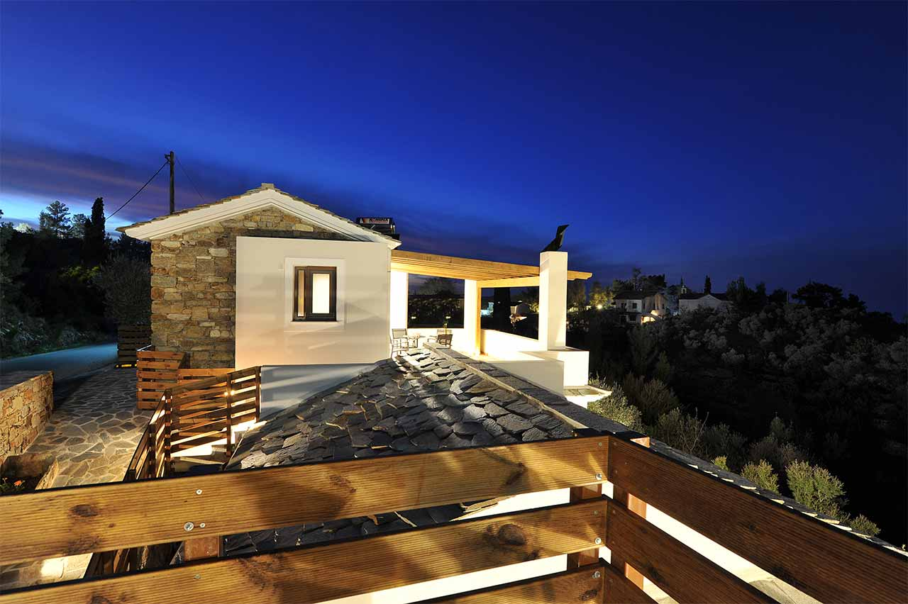 ikaria olivia villas - villa petrino night photo