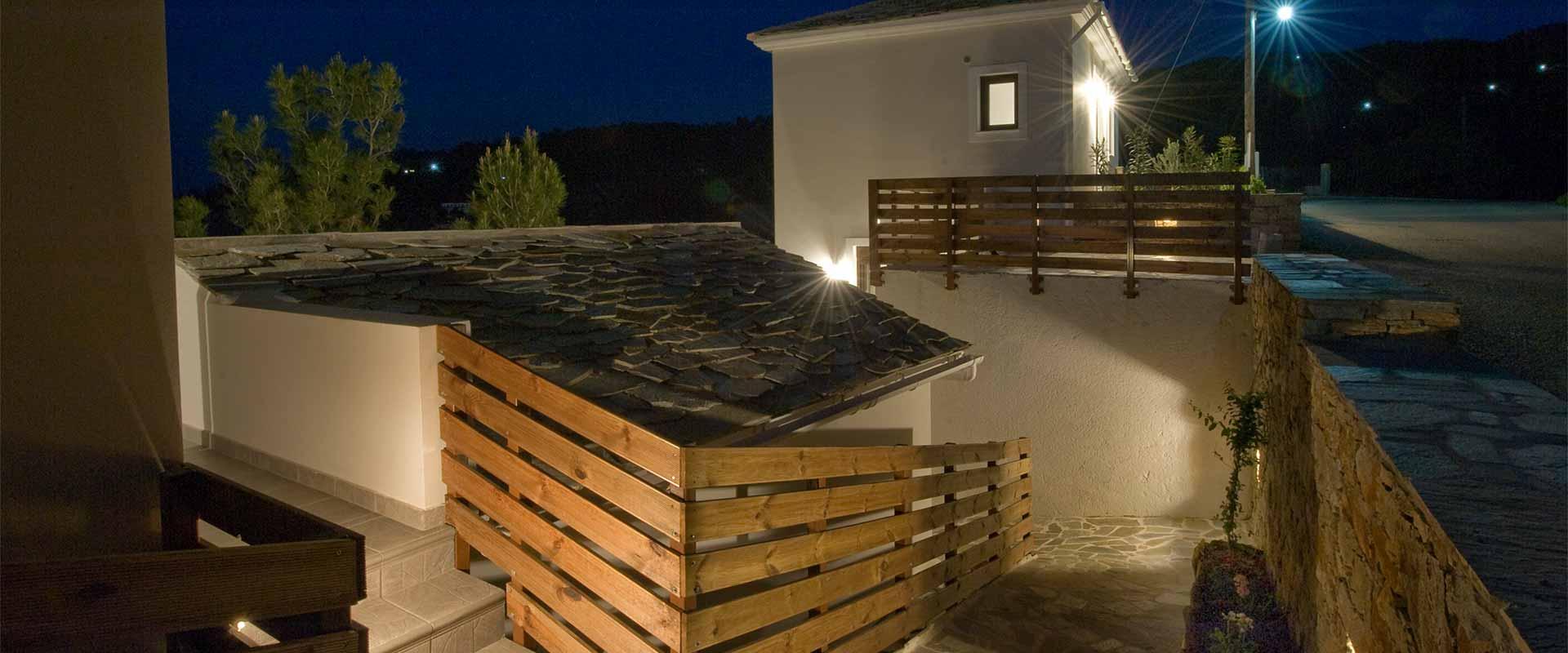 ikaria olivia villas night view image