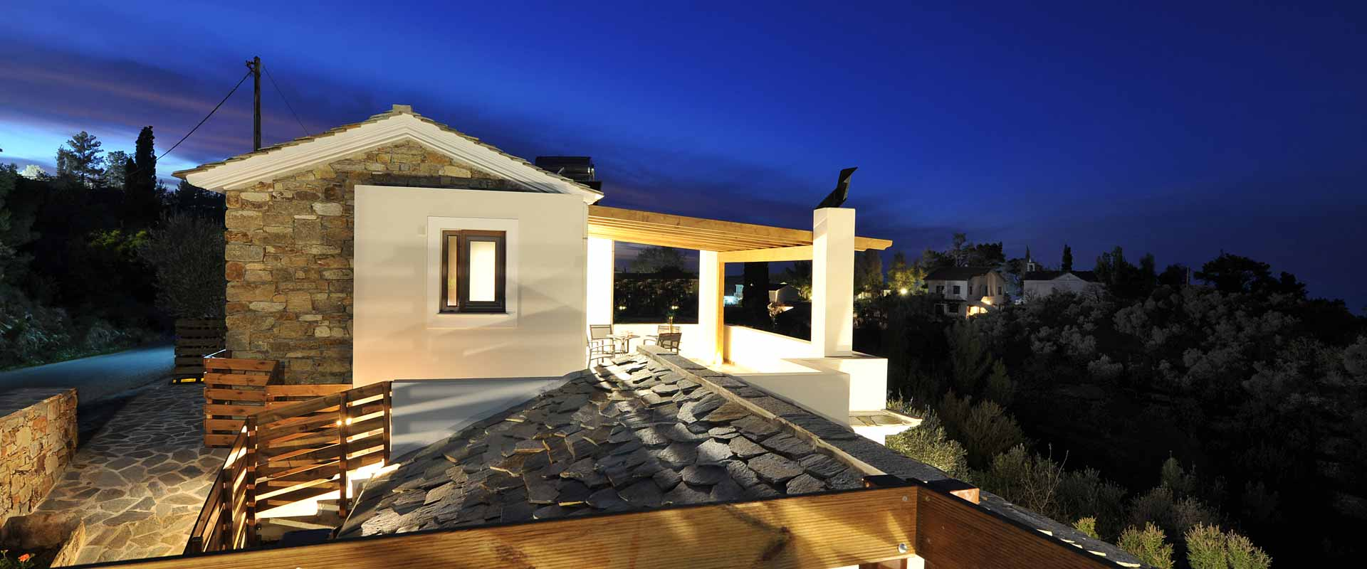ikaria olivia villas night bulding view photo