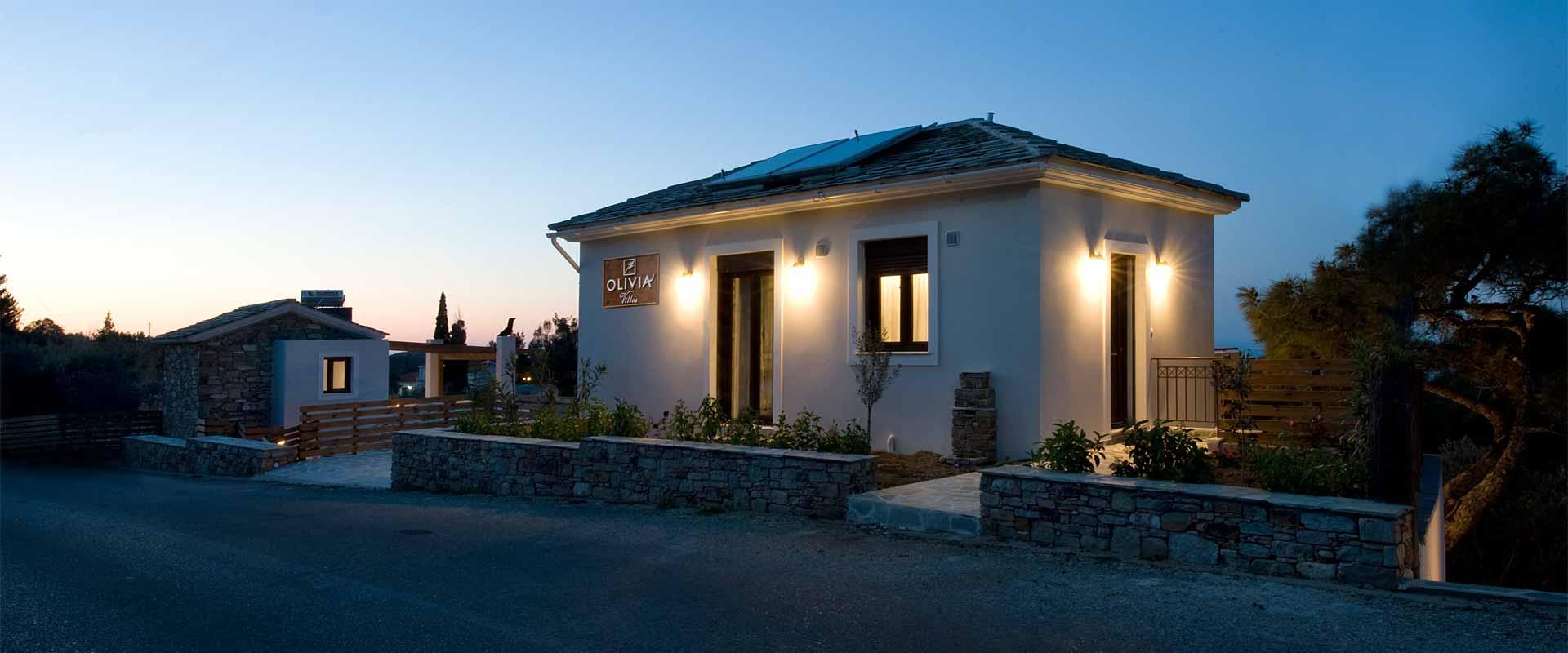 ikaria olivia villas night street view image